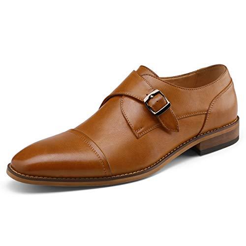 (Men's Monk Strap Dress Shoes Prince Single Buckle Slip On Stylish Cap Toe Dress Loafer Brown 9 D (M) US)