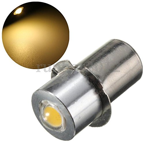 Led Flashlight 1 Watt Lantern (APCS 1W High Power P13.5S LED Flashlight Replacement Bulb Lantern Work Light 18V Warm White)