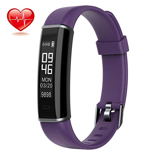 Lintelek ZD-US-130MiniHR-PL Fitness Tracker with Heart Rate Monitor, Pedometer Watch with Sleep Monitor, SNS Alert, IP67 Waterproof, Small, Purple, Small