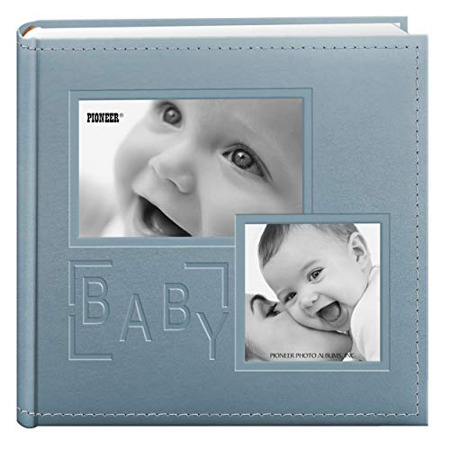 Pioneer Photo Albums 200-Pocket Embossed Baby Leatherette Frame Cover Album for 4 by 6-Inch Prints, Blue (Pretty Album Baby)