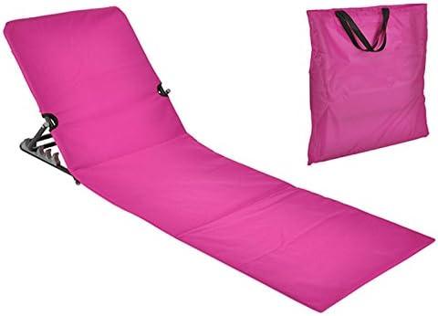 JEMIDI Strandliege Strandmatte Schwimmbadmatte mit Rückenlehne und Transporttasche Super leicht!!! Schwimmbad Decke Matte Laken Liege Strandliege tragbare (Pink)