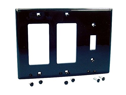 Decora Leviton Gang Nylon 3 (Leviton 80731-E 3-Gang 1-Toggle 2-Decora/GFCI Device Combination Wallplate, Thermoplastic Nylon, Device Mount, Black)