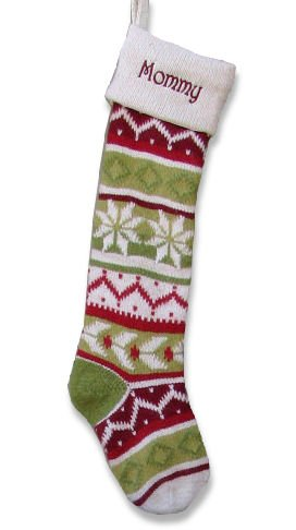 personalized knitted christmas stockings green red white cuff