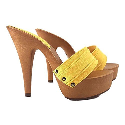 cm 13 shoes in MOU kiara Made Zoccolo K9301 Tacco Base Giallo con Italy Tacco BwZOW1