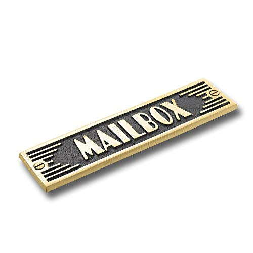 (The Metal Foundry Mailbox Metal Door Sign. Art Deco Style Home Décor Accessories Door Or Wall Brass Plaque. Handmade in)