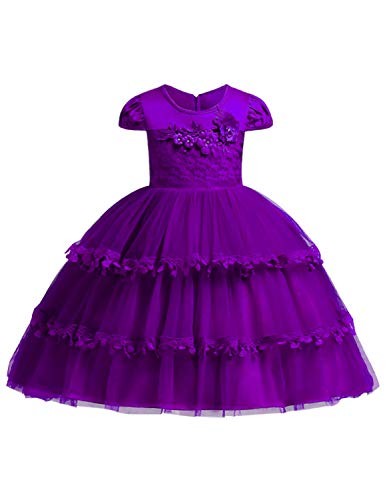 JOYMOM Gown Dresses for Girls, Toddlers Crew Neck Cap Sleeved Lace Tulle Overlaid Light Weight Zip Back Tie-Up Flower Embellishments Holy Communion Theme Party Dress Purple 120 (3-4Years)]()