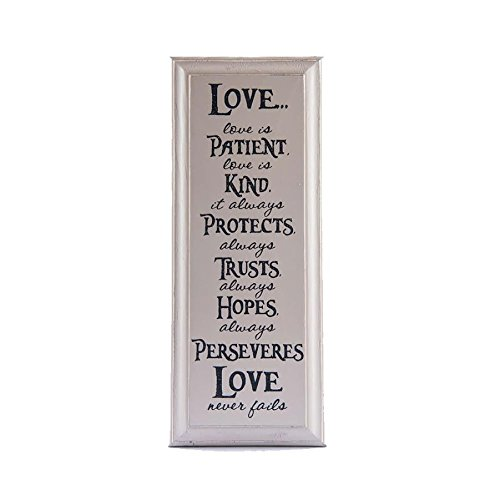 Love is Patient Love is Kind Wall Art 1 Corinthians 13:4-7 Religious Inspirational Decorative Wood Sign (beige)