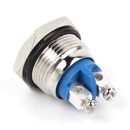 Bot/ón de bocina de inicio profesional de 16 mm Interruptor a prueba de agua de bot/ón pulsador met/álico de lat/ón niquelado moment/áneo