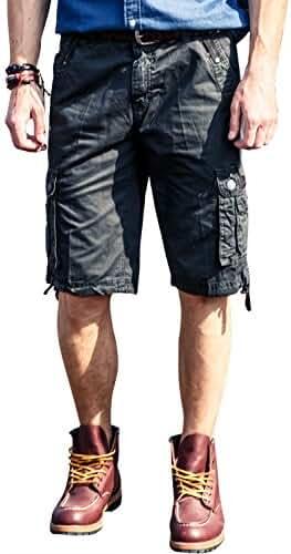 FLY HAWK Men's Cargo Shorts Drawstring Waist 100% Cotton Shorts for Mens with Multi-pockets Casual Summer Shorts