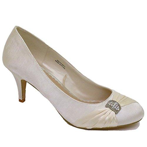 Damen Elfenbein Satin Bridal Braut Damen Brautjungfer Hochzeit Pumps Größen 3-7