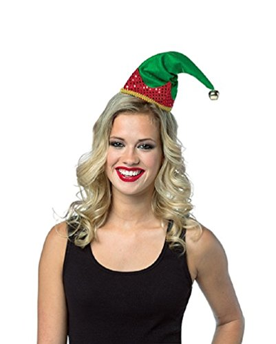 Green & Red Elf Hat with Jingle Bell - Holiday (Womens Elf Hat Headband)