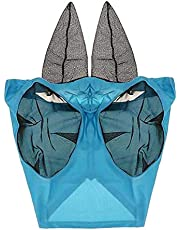 shamjina Horse Fly Mask, Fly Masks for Horses with Ears, Smooth & Elasticity Fly Mask, Equine Fly Repellent and UV Protection, Full Size for Horse