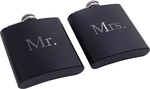 Mr-and-Mrs-6-oz-Stainless-Steel-Black-Matte-Wedding-Flask-Set-Great-Groommans-or-Bridal-Wedding-Gift-for-Newlyweds-Couples-and-Christmas-Gifts