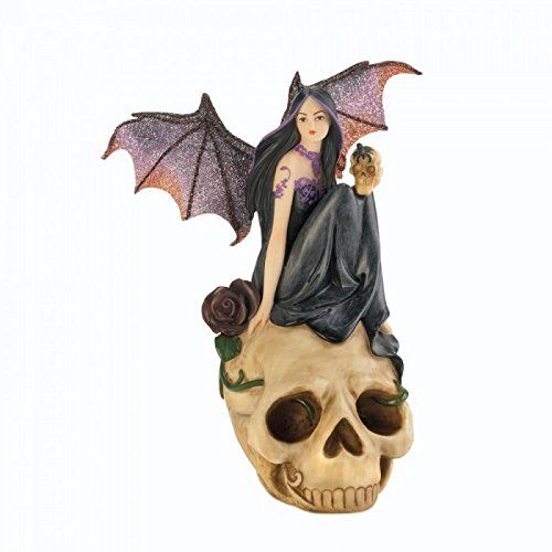 Devil Bat Fairy On Skull Figurine Statue