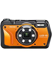 Ricoh 3853 WG-6 Orange Waterproof Camera 20MP Higher Resolution Images 3-inch LCD Waterproof 20m Shockproof 2.1m Underwater Mode 6-LED Ring Light for Macro Photography