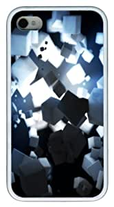 3D Cubes Rendering With Source Of Light TPU Case Cover for iPhone 4 and iPhone 4s ¡§C White
