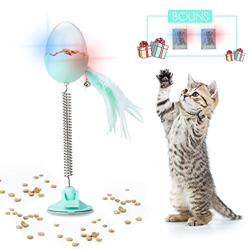 DELOMO Cat Food Dispenser Toy, Smart Interactive Cat Toy with LED Light, Cat Feeder Toy with Feather Bell, IQ Toy Feeders for Cats