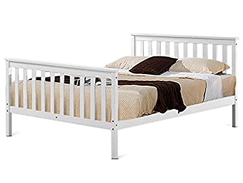 Popamazing 4ft 6 Large Wooden Bed Frame White Solid Wood Double Bed