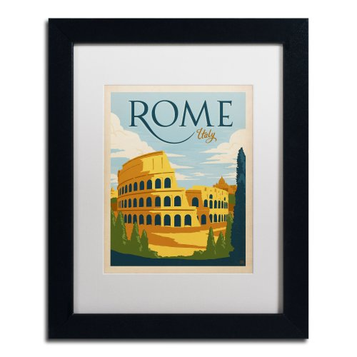 Trademark Fine Art Rome Italy Canvas Artwork by Anderson Design Group, 11 by 14-Inch, White Matte with Black Frame