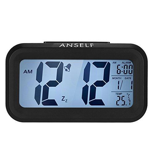 Despertador digital LED Anself con funcion repeticion, sensor de luz, luz de fondo, indicacion de hora, fecha y temperatura, plastico, negro, 4,5 cm l x 13,5 cm w x 7,8 cm h