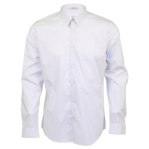Calvin Klein Men's Sportswear Long Sleeve Dress Shirt (2XL, White Stripe)