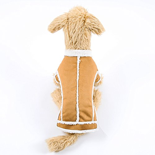 Winter Dog Coat Pet Clothes Snowsuit Apparel Cold Weather Warm Faux Suede Shearling Fabric Dog Jacket for Small Medium Dogs (Suede Dog Coat Jacket Clothes)