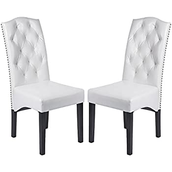 Exceptionnel Merax Urban Style Solid Wood And Leatherette Padded Parson Dinning Chairs, Set  Of 2, White