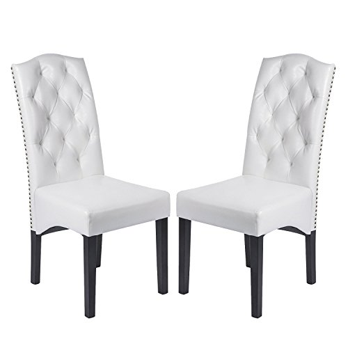 Merax Anastasia Collection PU Dining Room Chair Set with Solid Wood Legs, Set of 2, White