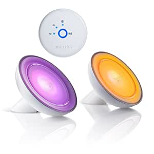Philips Hue Bloom 2-Pack Dimmable LED Smart Table Lamp Starter Kit (Older Model, 2 Blooms and 1 Bridge, Works with Alexa, Apple HomeKit and Google Assistant)