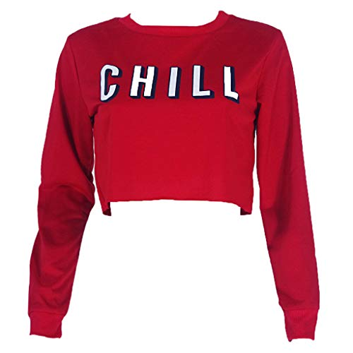 LoXTong Women Short Hoodies Casual Loose Sweatshirt Long Sleeve Crop Tops Letter Printed (The Real Meaning Of Netflix And Chill)
