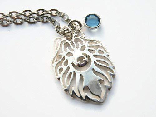 Personalized Samoyed Dog Necklace, Birthstone Necklace, Pet Silhouette Pendant, Animal Lover, Boho Jewelry ()