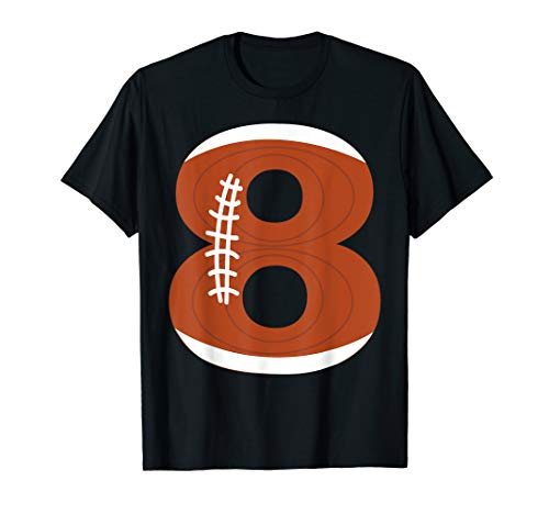 8th Birthday Football Ball Boys | 8 Year Old T-Shirt Gift