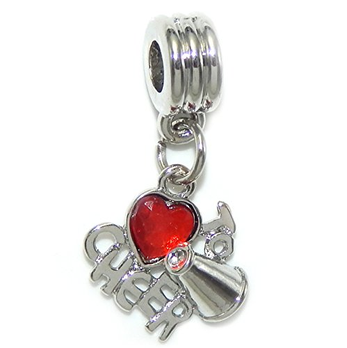 GemStorm Silver Plated Dangling 'Love to Cheer w/ Red Crystal Heart' For European Snake Chain Bracelets