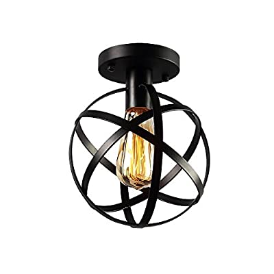 KOONTING Vintage Industrial Flush Mount Ceiling Light ,Metal Ceiling Lamp Light Fixture for Hallway,stairway,YH8068