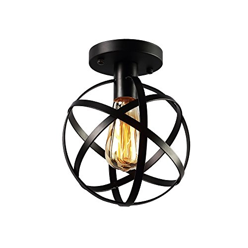 KOONTING Vintage Industrial Flush Mount Ceiling Light ,Metal Ceiling Lamp Light Fixture for Hallway,stairway,YH8068 - Cage Ceiling Light