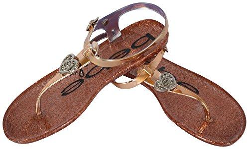 d7cf81fd6 bebe Girls Rhinestone Glitter Heart Jelly Sandals - Metallic Flip Flop Shoes  (Little Kid Big Kid)