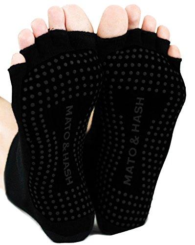 Mato & Hash Toeless Half Toe Yoga Socks With Grip Blackout M/L