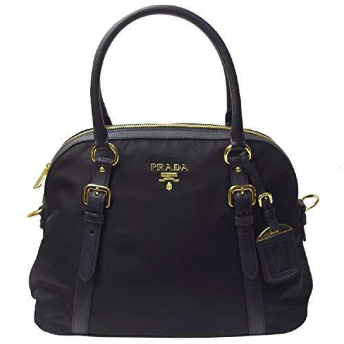 Prada Tessuto Nylon and Saffiano Leather Black Satchel 1BB013 - Tessuto Black Bag