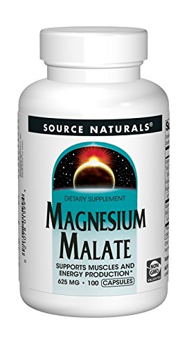 Source Naturals Magnesium Malate 625mg Supplement Supports Muscle Function, Health and Energy Production - Essential Magnesium Malic Acid Supplement  - 100 Capsules ()