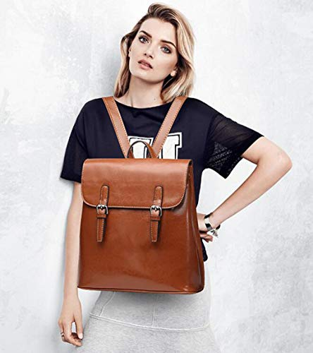 Cuero Para Tamaño Preppy color Retro Commuter Zjexjj Brown One Brown Bag Chic Mujer De Mochila Size tqc7E4