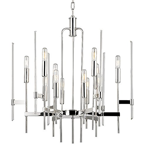Hudson Valley Lighting 9912-PN Bari 12-Light Chandelier - Finish with Clear Glass Shade, 24