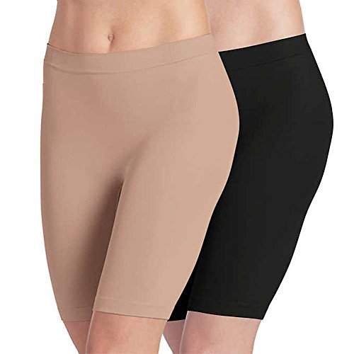 Jockey Ladies' Skimmies Slip Short Smooth Lightweight Mid-Length , 2 Pack (Medium) Black/Light Nude