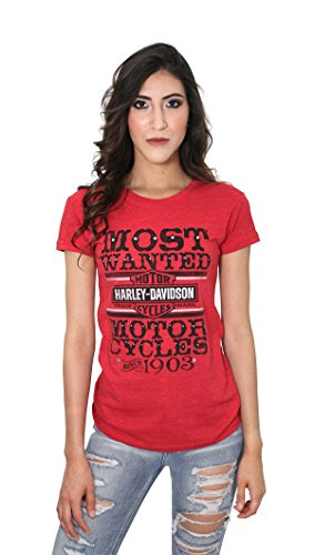 Harley-Davidson Womens Most Wanted Bling Red Short Sleeve T-Shirt (2X)