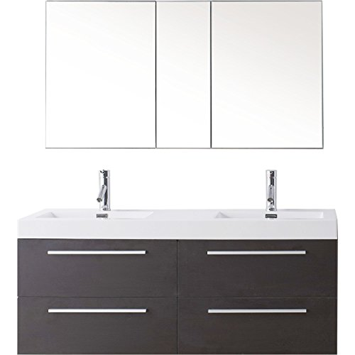 Virtu USA Finley 54 inch Double Sink Bathroom Vanity Set in Wenge w/Integrated Square Sink, White Polymarble Countertop, Single Hole Brushed Nickel, No Mirror - JD-50754-WG-001 ()