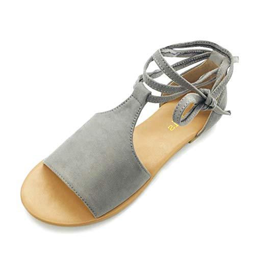 Gris Été Femme Daim Romaines Vacances Minetom Antidérapant Poissons Lacer Plat Flip Élégant De Bouche Chaussures Plage Peep Flops Toes Sandales 7fdfwqH4
