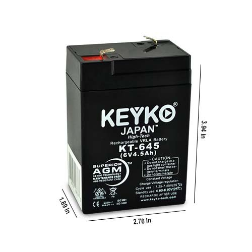 Carpenter Watchman 713526 Battery 6V 4.5Ah Fresh & Real 4.5Amp AGM/SLA Rechargeable Replacement Designed for Lighting - Genuine KEYKO - F1 Terminal - 6 Pack by KEYKO (Image #2)