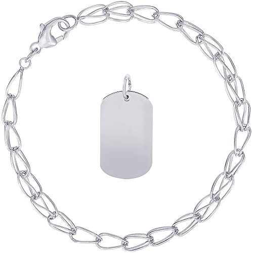 Rembrandt Charms Sterling Silver Dog Tag Accent Charm on a Double Twist Bracelet, 7