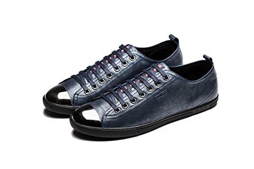 OPP Hombres Flats Zapatos de Piel Azul-1