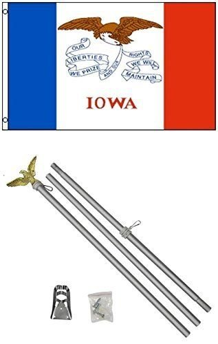 Moon Knives 3x5 State of Iowa Flag Aluminum Pole Kit Set - Party Decorations Supplies For Parades - Prime Outside, Garden, Men Cave Decor - State Party Kit Iowa