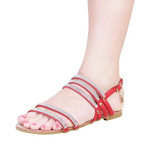 Laura Biagiotti - 373 Damen Flache Sandalen Mit Verstellbarer Knöchelriemen Ferse: 1 cm Rosso